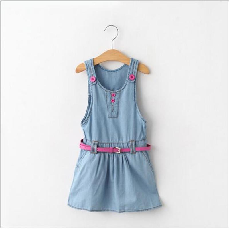 Baby Girls Wash Blue Denim Dresses Kids Girl Ruffle Dress with Sash Girl Spring Summer Fashion Jean Dress 2016 Babies Clothing <br><br>Aliexpress