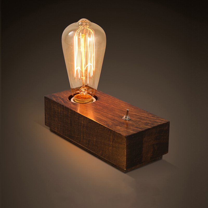 American country Retro Zhangmu table lamp Creative bedroom bedside Edison light bulb Solid wood decorative table lamp(China (Mainland))
