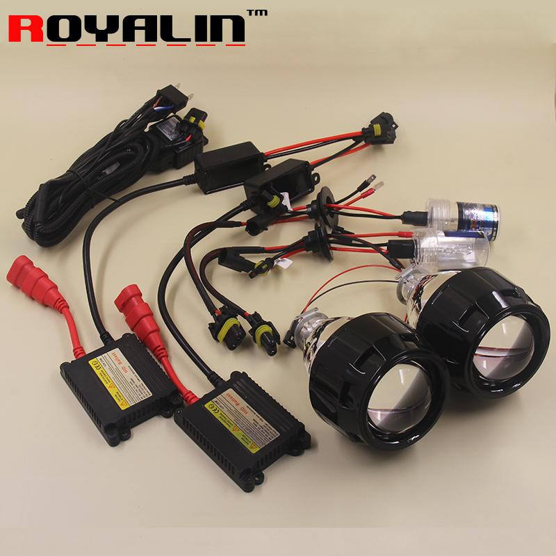 ROYALIN 2.5 Mini Bi Xenon HID Projector Headlights Lens Kit AC H1 Bulbs Slim Ballast Relay Harness Controller for H4 H7 Cars DIY(China (Mainland))
