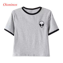 Buy 3D Print Aliens Crop Top Short Sleeve T Shirt Women Camisetas Teenagers T-shirts Summer Women Tops for $3.33 in AliExpress store
