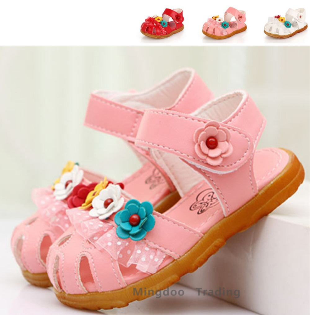 Baby girls Sandals Kids non-slip shoes princess Floral sandals Beach Cow Muscle sole - Shanghai MingDoo Trading Co., Ltd. store