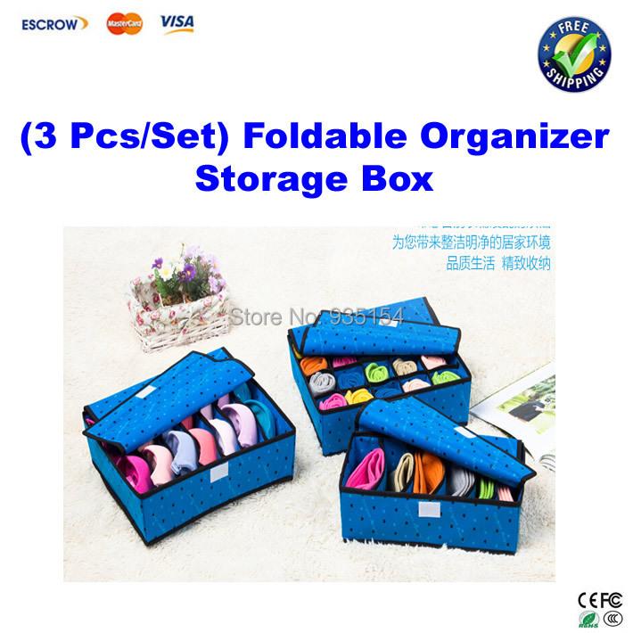 ! 3 Pcs/Set Foldable non-woven fabrics Organizer Storage Box Set, underwear box Bra Underwear Tie Socks - IC Machinery Equipment Group store