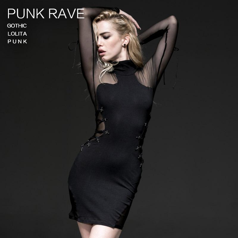 Punk Fashion Womens dress One shoulder Sexy Rock Black Long Kera StreetÎäåæäà è àêñåññóàðû<br><br>
