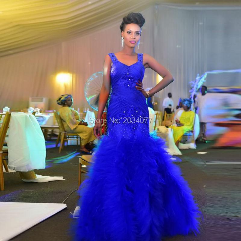 Fashion Style Royal Blue Wedding Gowns Mermaid Bridal Dresses Lace Ruffles Zipper Tank Diamonds Vestido de noiva sereia sexy(China (Mainland))