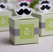 50pcs My little Man Cute Mustache Birthday Boy Baby Shower Favors boxes and bags baby shower souvenirs wedding gifts for guests(China (Mainland))