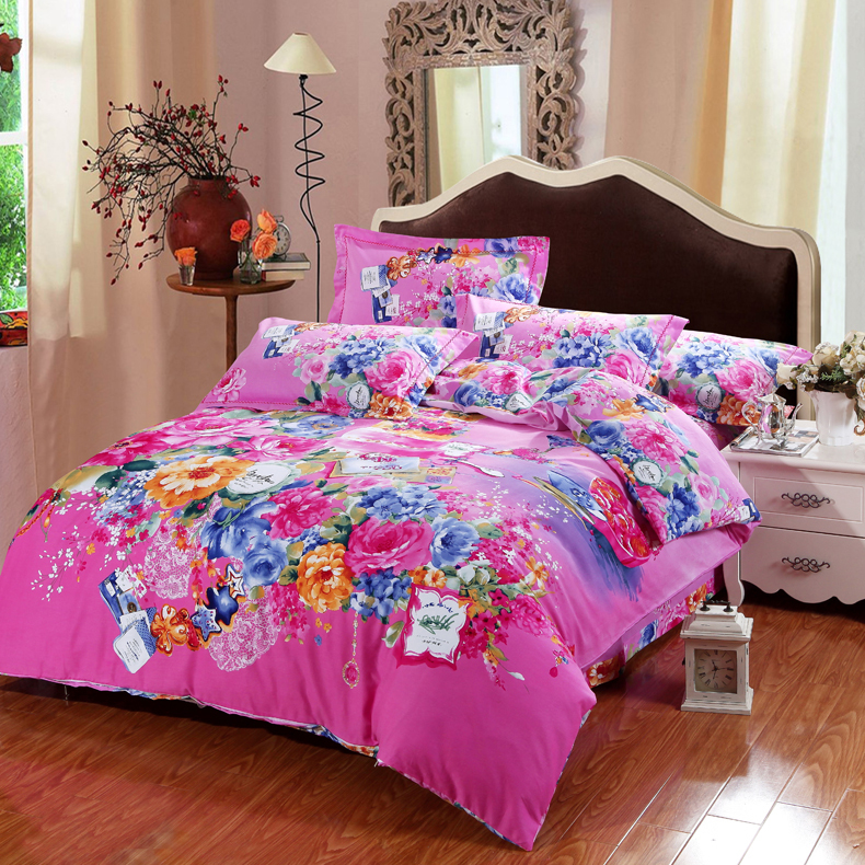 Hot sale 4pcs pastoral comforter cover set with peach for Queen size bed sets for sale