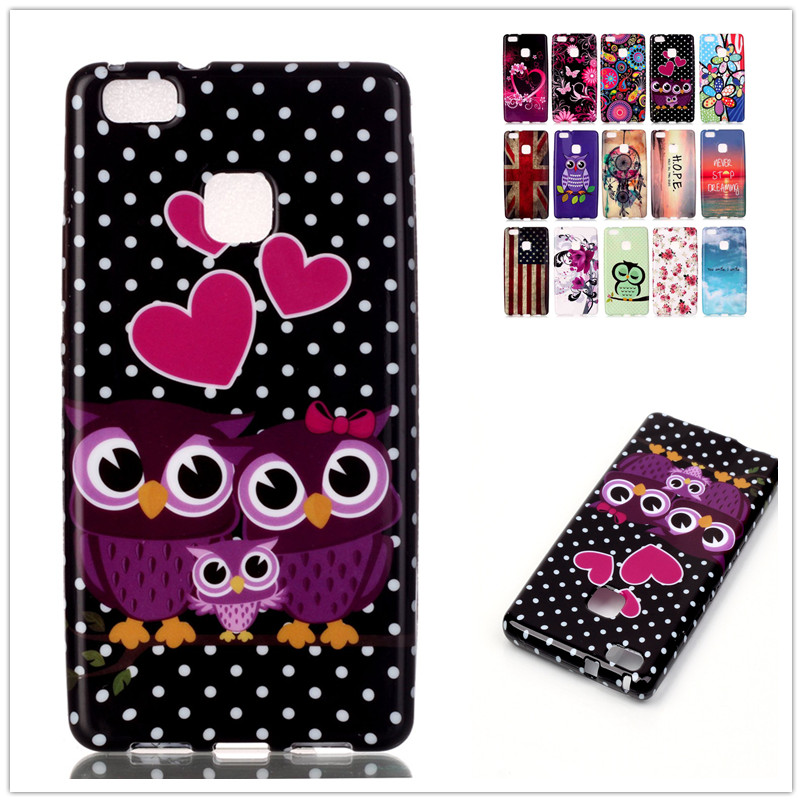 Water paste painting TPU case Owl Flag for Huawei Ascend P9 Lite Case Silicone Gel Soft Protective Back Cover phone case(China (Mainland))