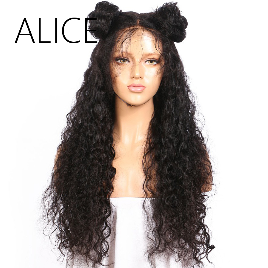 ALICE Pre Plucked Full Lace Human Hair Wigs With Baby Hair For Black Women Remy Brazilian Kinky Curly Lace Wig Natural Black(China (Mainland))