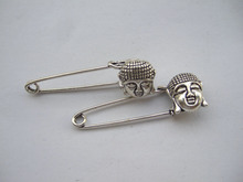 5Pcs Silver Tone Large Buddha Durable Strong Metal Kilt Scarf Brooch Safety Pin 14*16mm