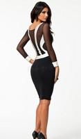 vestidos femininos женщин длинный рукав осень платье элегантной работы колена длина bodycon повязку платье большого sizeb21 20098