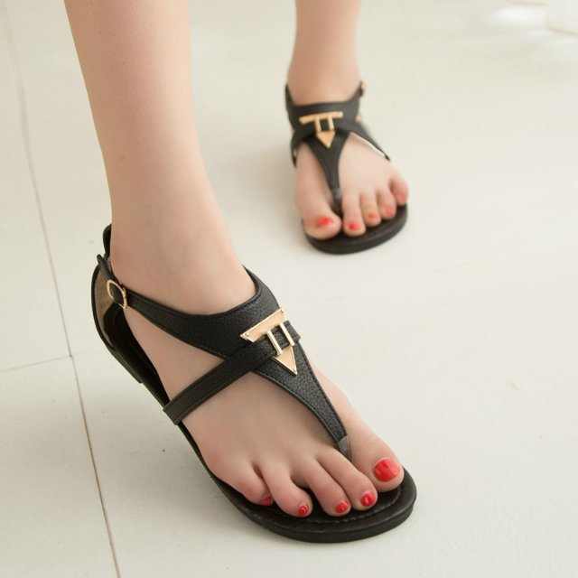 2014 flat herringbone comfortable gladiator style heel white black women's flip-flop shoes plus size sandals female - Sailly Wang's store