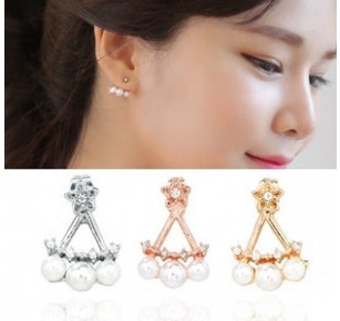 ES837 Hot Fashion 2015 New three-pointed star female imitation pearl earrings hang Jewelry Accessories - BILL JEWELRY CO,.LTD Min order $8 store