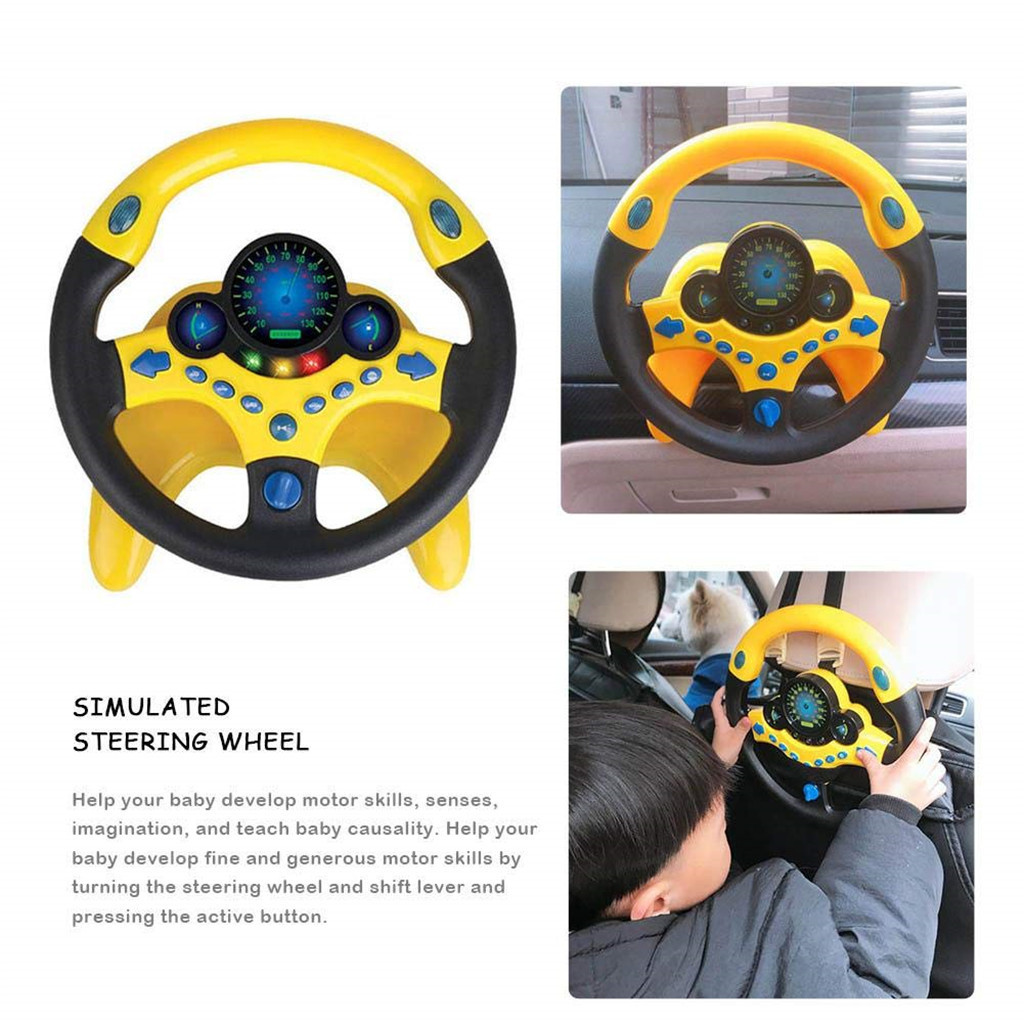 Simulated Driving Controller Copilot Simulated Driving Steering Wheel Toy for Kids Childrens Educational Sounding Toy Small Steering Wheel With Music Great Funny Toy Gift for Baby