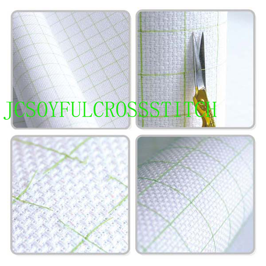 bobo Top Quality 14CT 14ST Cotton Pre-grid Grided Cross Stitch Canvas Fabric, Color Lined Grid Embroidery Canvas