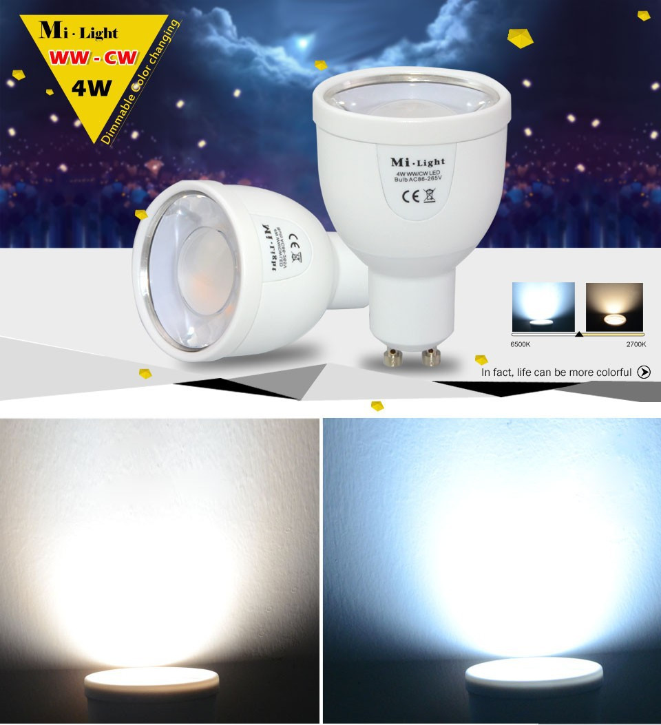 Milight 2.4G GU10 4W Wireless LED Dimmable Bablle Dual White WW/CW Dimmable LED Smart Bulb Lamp<br><br>Aliexpress