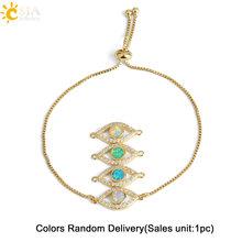 CSJA עין רעה קסם צמיד נקבת כסף זהב צבע נחושת שרשרת זירקון אופל קישור צמידי מתכוונן למסיבה תכשיטי G099(China)