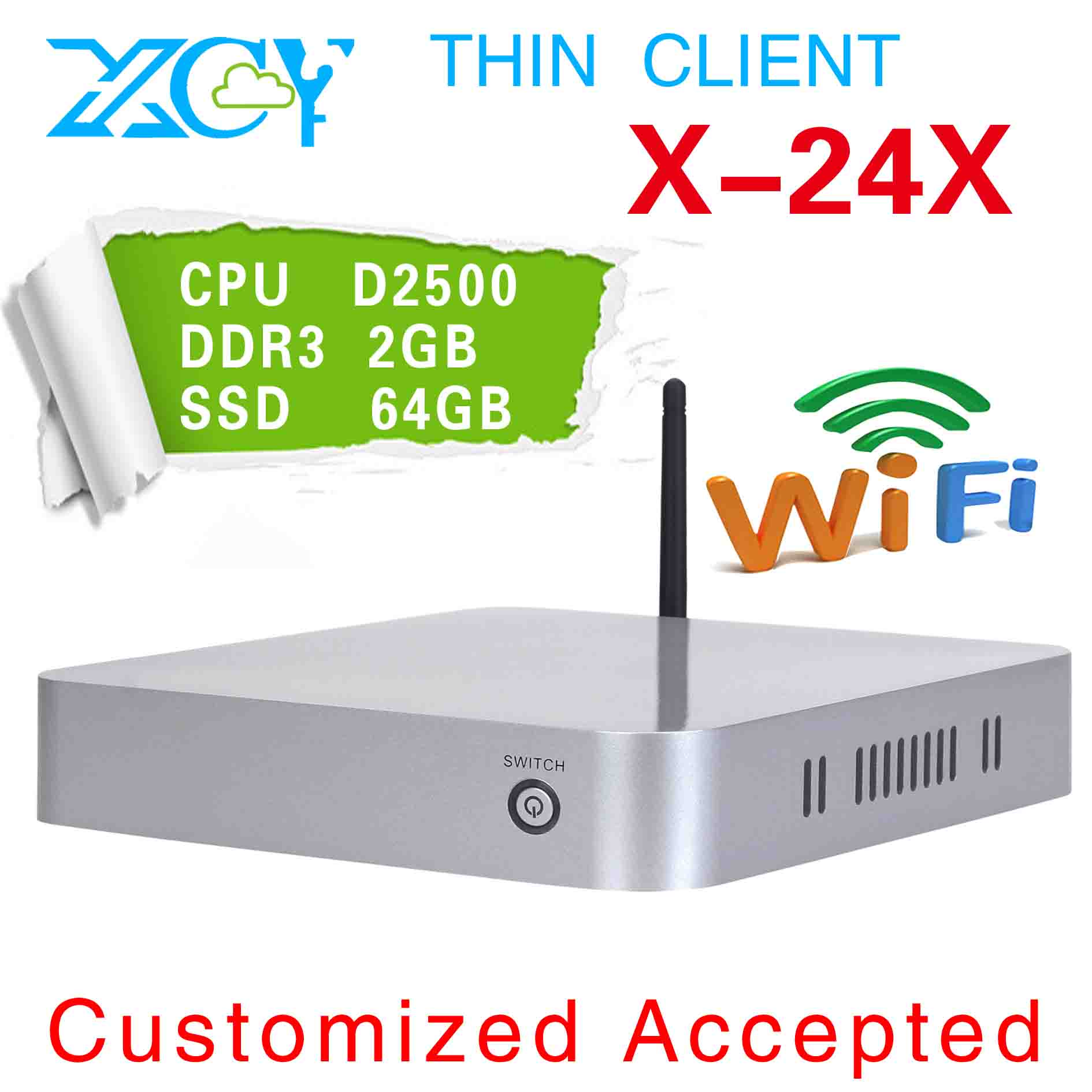 pc station linux XCY X-24X latest mini computer with power adapter support wifi(China (Mainland))