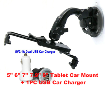 PIPO Max M1 M2 M3 M5 M6 M7 M8 M9 M9PRO Tablet Rotating Car Holder Mount Stand + Dual USB Car Charger Cord Free shipping