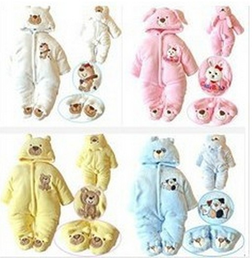 Retail top quality! 2014 Infant Winter warm Rompers+shoes Baby cartoon soft cotton bodysuit 3 style stock - J&L ANGEL store