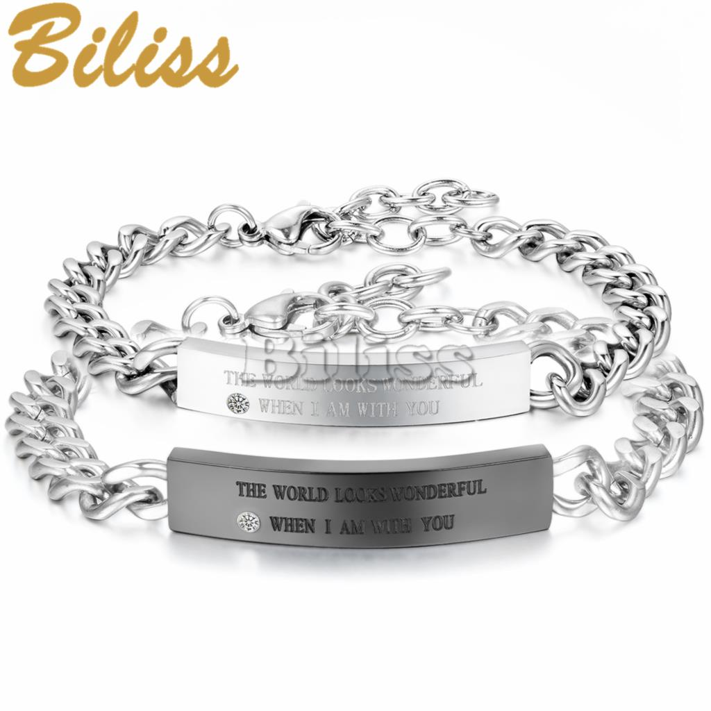 "His and Hers Bracelet ""the world looks wonderful when i am with you"" Stainless Steel Crystal Couple ID Bracelets pulseira(China (Mainland))"