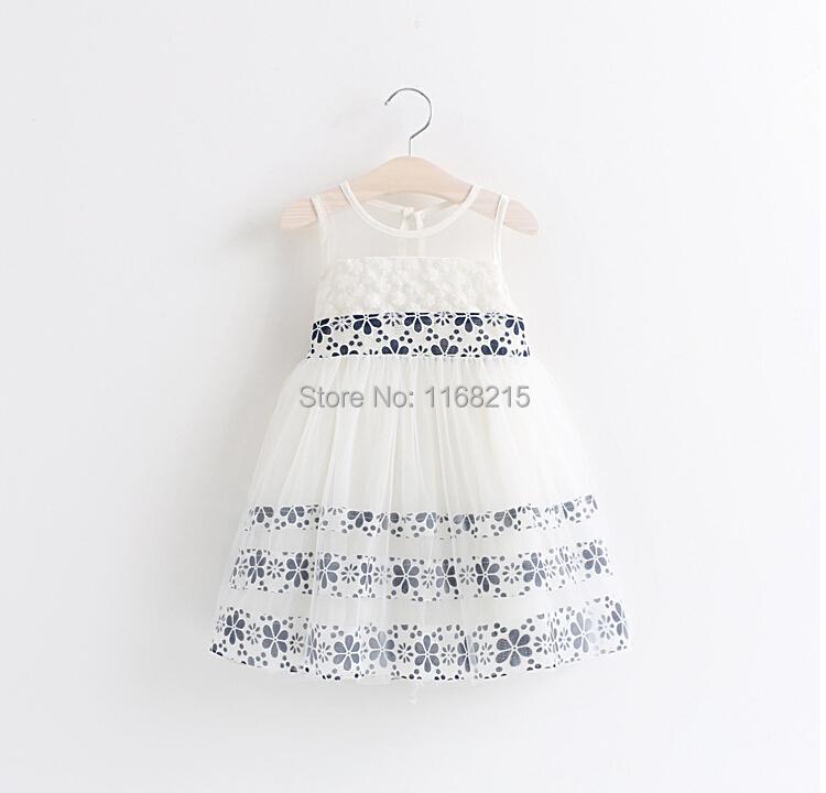 -Summer children's dress girl lace kids sleeve less white princess tutu