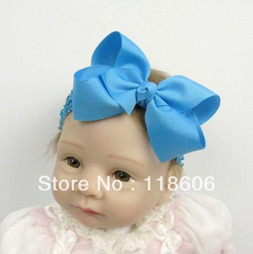 50pcs/lot 1.5 inch Baby Lace Girl Waffle Crochet Headband with 4-4.5inch Large Grosgrain Ribbon Hairbow Free Shipping(China (Mainland))