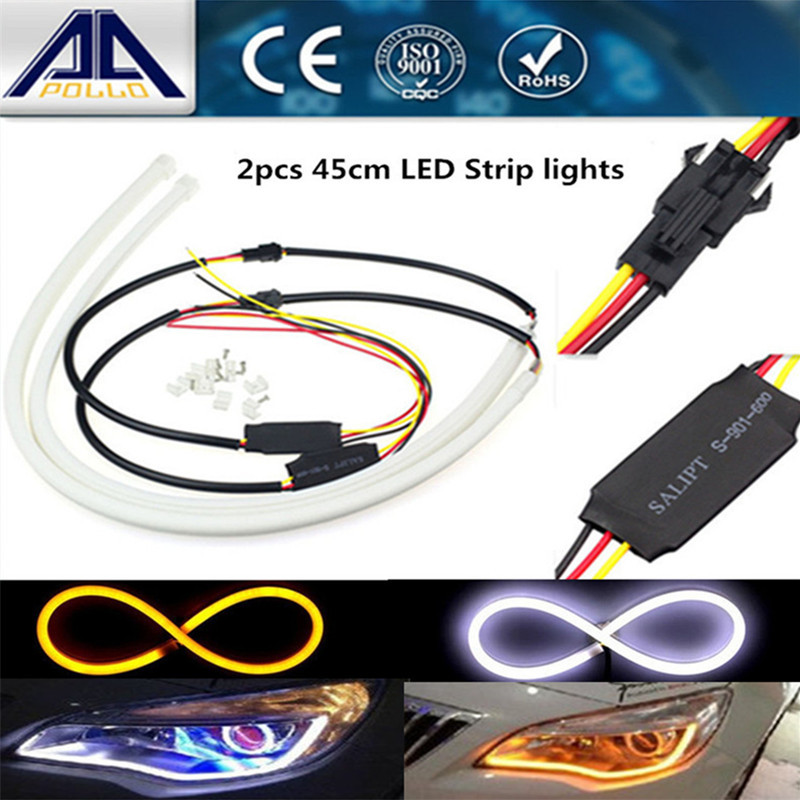 2 x 45cm led car light Headlight Flexible strip Daytime Running Light Turn Signal lamp Angel eye DRL Styling fog parking light(China (Mainland))