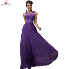 Elegant Avondjurk Grace Karin Long A-line Vestido Chiffon Sleeveless Pink Purple Prom Dress Women Formal Evening Dresses 7555(China (Mainland))