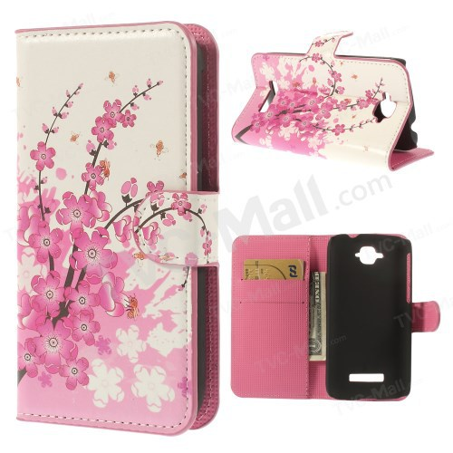 Luxury Pink Plum Blossom Pattern Leather Flip Card Holder Cover Case Alcatel One Touch Pop C7 OT-7040E 7040D - SS China store
