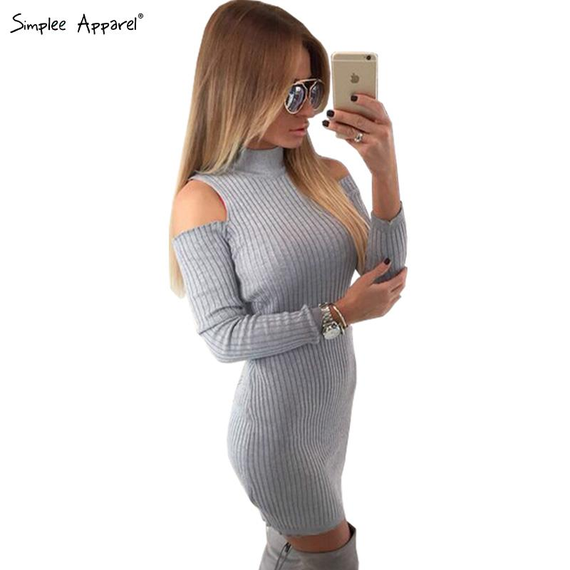 Simplee Apparel Winter sexy off shoulder knitted dress Women evening party bodycon dress sweater Christmas vestidos de fiesta OL(China (Mainland))