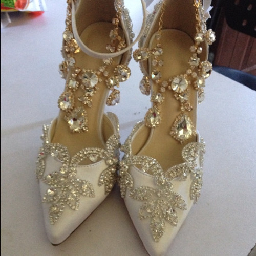 Pointed toe rhinestone ultra high heels wedding shoes banquet formal dress shoes luxury crystal tassel ankle strap  woman pumps