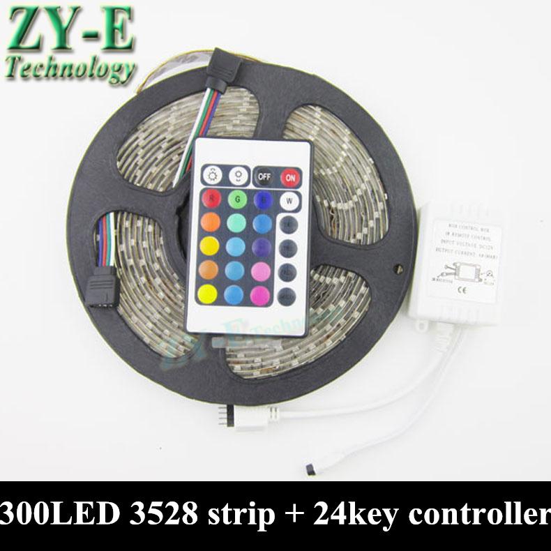 Waterproof LED strip 3528 RGB 5M Ribbon 300LED SMD + 24key IR Remote controller,DC 12V fexible IP65 Tape led light,freeshiping(China (Mainland))