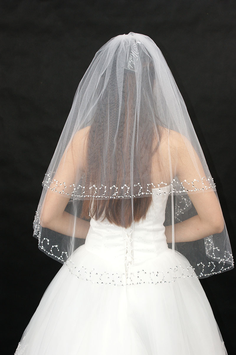 Beaded edge two layer wedding veils cheap white or ivory for Wedding dress with veil