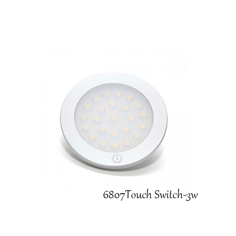 3W Round LED Spotlight 12V Cabinet Lamps in Furniture Showcase Warm /cool white LED Lighting With Touch Switch 2pcs/lot CE ROHS(China (Mainland))