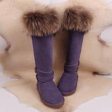 Zorro nieve botas de piel zapatos de mujer beightening alargar over-the-knee ultra de cuero de alta botas de Invierno(China (Mainland))