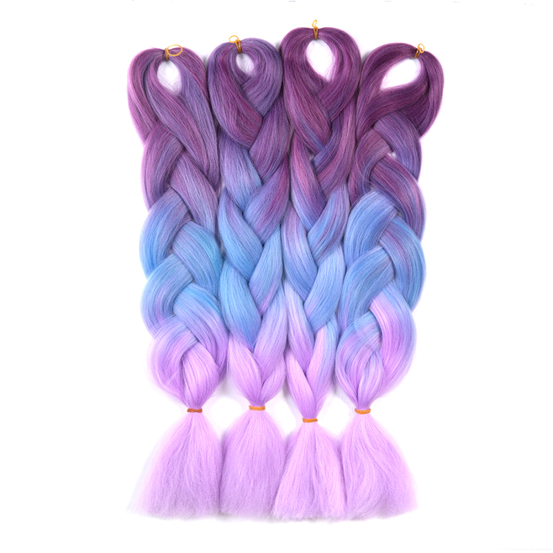 "14 Colors 24"" Three Tone Ombre Kanekalon Braiding Hair Extensions Premium Natural Heat Resistant 100g Piece Synthetic Hair Weave(China (Mainland))"