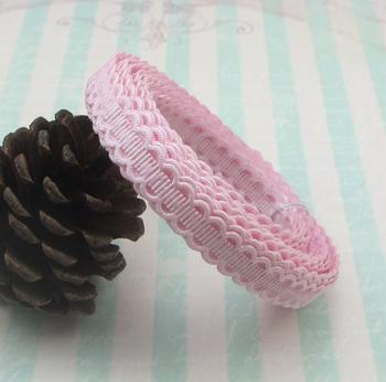 "3/8"" 10mm Pink Jacquard ribbon Handmade Laciness 6yards 040057026(1)"