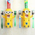 Home Bathroom Automatic Toothpaste Dispenser Yellow Minions Toothbrush Kids Plastic Toothbrush Holder Bathroom Products