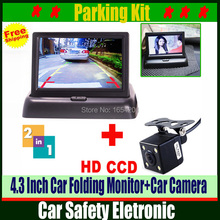 Auto Parking Assist System 2 in 1 Car Rear View Camera With Monitor,Night Vision Car Parking Camera With Monitor For Security(China (Mainland))