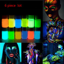 6 X Glowing paint glow in the dark Face body Paint 25g for party, Easter 12 Colors lumious Acrylic Paints(China (Mainland))