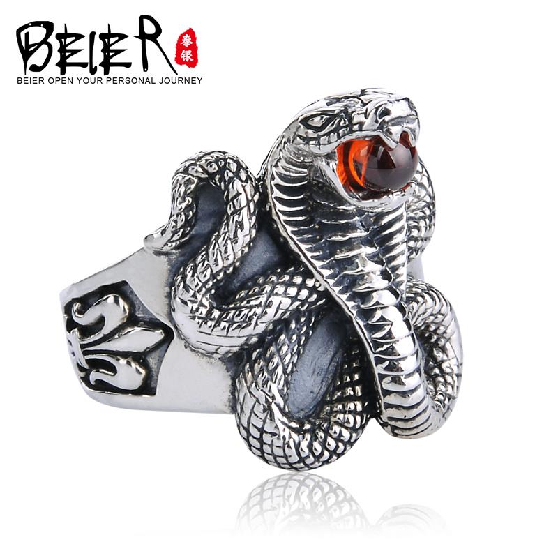 Beier silver vintage thai silver gothic punk accessories 925 pure silver male index finger ring<br><br>Aliexpress