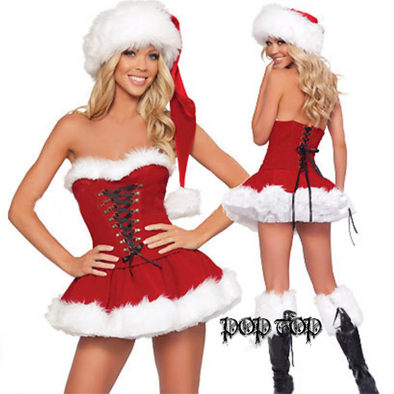 Lady Women Christmas Red Santa Claus Velvet Costume Outfit Dress + Fur Hat Christmas Bra Sets Christmas clothing(China (Mainland))