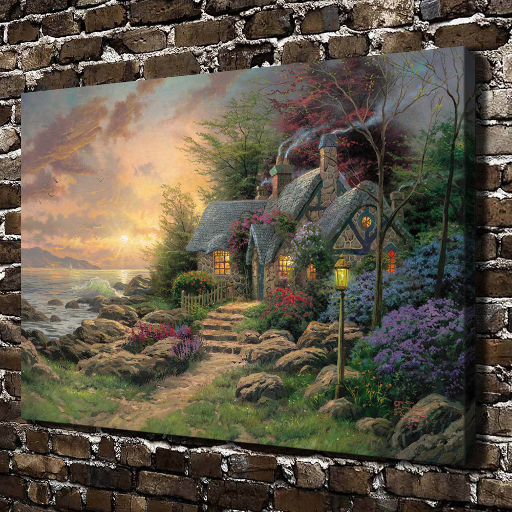H1196 Thomas Kinkade Seaside Hideaway, HD Canvas Print Home decoration Living Room bedroom Wall pictures Art painting(China (Mainland))