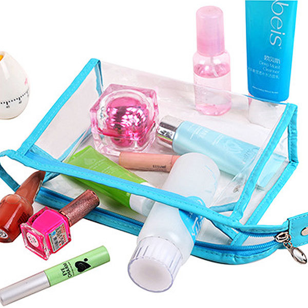Clear Transparent Plastic PVC Bags Travel Cosmetic Make Up Toiletry Bags With Zipper 4 Colors(China (Mainland))