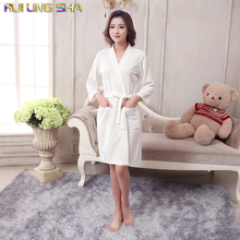 Towel Bath Robe Dressing Gown Unisex Men Women Sleeve Solid Cotton Waffle Sleep Lounge Bathrobe Peignoir Nightgowns Lovers Robes(China (Mainland))