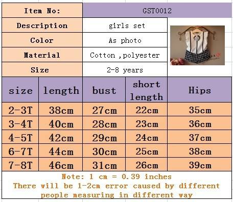 Fashion Baby Girl Kids Summer Clothes Set 3D Flower Cotton T Shirt and Plaid Short Pants Suit Real Photo for Chiildren Girls