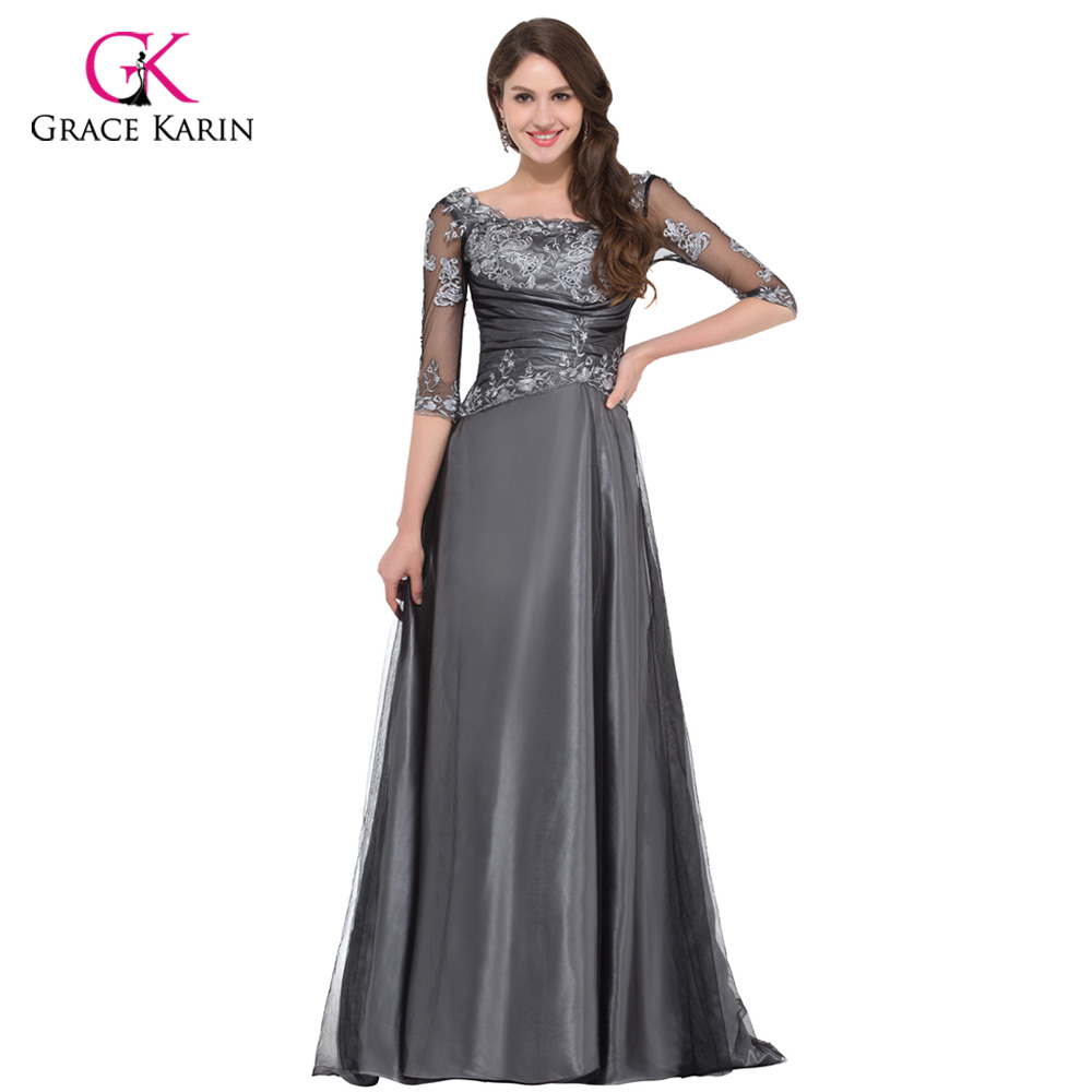 Grace karin grey elegant long half sleeve evening dresses for Long elegant dresses for weddings