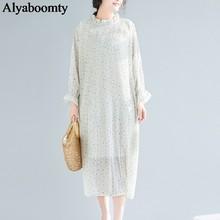 Большие размеры, весна-лето, женское длинное платье, черный, бежевый, в горошек, выше размера d, женские платья, элегантные шифоновые плиссиро...(China)