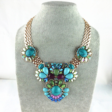 2015 New Unique Design Fashion Necklace Chunky Turquoise  Statement Necklace Fancy Multi-element Necklaces & Pendants For Women(China (Mainland))