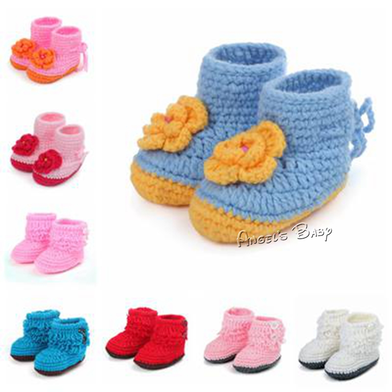 Crochet Newborn Shoes,Baby Girl Knit Ankle Boot,Soft Crib Shoes,Cheap Chaussure Bebe,Tall Moccasin Boots,Walking Shoes,#A0022(China (Mainland))